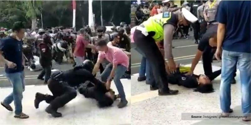 Mahasiswa Tangerang Jadi Korban 'Smackdown' Polisi saat Demo